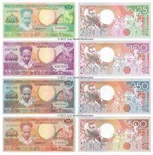 Suriname 25 + 100 + 250 + 500 Gulden Set 4 pcs Mint UNC Uncirculated Banknotes