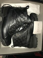 Gucci Men's  Black Leather Boots Combat Trek Authentic