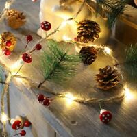 20 LED Fairy String Lights Christmas Pine Cones Branch Garland Home Xmas Decor
