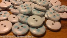 Job Lot Crafty 100 Baby Blue & White Checkered Round Wooden Buttons Beads 15mm