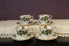 SET OF 4 ROSINA ENGLAND CHRISTMAS HOLLY DEMITASSE CUP AND SAUCER
