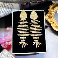 Fashion Fish Bone 925 Silver Gold Hoop Earrings Women Jewelry A Pair