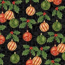 Hanging Ornaments-Black B/G-Windham Fabrics-BTY-Metallic Trim-Deck The Halls