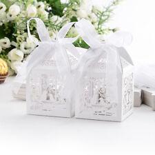 50x Boîte à dragées bonbons Oiseaux Coeur Cage blanc pour Mariage Baptême