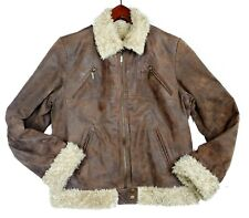 Ruff Hewn Mens Brown Leather Bomber Jacket Faux Fur Zip Size L