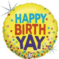 "Betallic Happy Birth Yay Holographic Round Shaped Birthday Balloon-18"""