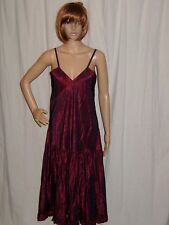 Vintage Slip Dress Crinkled Taffeta Spagetti Strap Crimson Iridescent Small