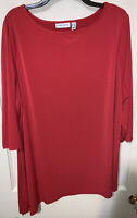 Susan Graver red angled hem liquid knit top Size 2X side slit CAREER 3/4 sleeves