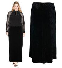 Womens Plus Size Long Black Crush Velvet Skirts Gothic Hints Size 16 - 30