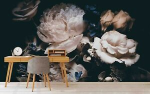 3D Pink Rose Floral Plant Leaves Self-adhesive Removable Wallpaper Murals Wall