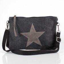 Clutch Leder Applikationen Schulter Tasche Canvas Jeans Stoff Star Stern Schwarz