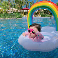 Baby Swim Ring Toddler Inflatable Float Seat Pool Kids Water Fun Rainbow Clouds