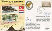 WW2 Germany invades Holland cover signed by TWO Resistance veterans