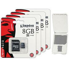 Lot of 4 Kingston 8GB Micro SD SDHC Class 4 microSD Flash Memory Card + CASE