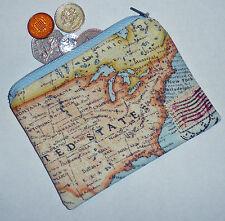 "VINTAGE STYLE CUTE WORLD MAP 5"" x 4"" PRINT COTTON HANDMADE COIN PURSE e357"