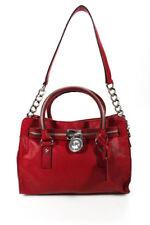 Michael Kors Red Leather Key Lock Satchel Handbag Size Medium