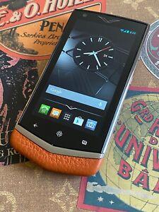 Genuine Vertu Constellation V Android Luxury Phone in Orange Leather Super RARE