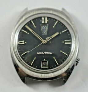 Vintage Bulova Accutron Tuning Fork 2182 Day Date Watch READ!! lot.7