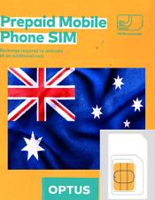 Optus Australian PREPAID SIM. NANO, MICRO or STD. AUSTRALIA. No credit.