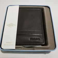 NWT Fossil Wilder Brown Leather Trifold Wallet NEW gift tin incl