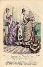 """35 GRAVURE DE MODE """"  JOURNAL des DEMOISELLES """" 1876 colories éclatants !"""