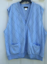 Haband Men's 3X Sweater Vest Button Down Blue Argyle Sleeveless Pockets