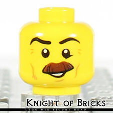 LEGO Minifigure Head YELLOW Male Moustache Brown Bushy Cheek Lines Smile