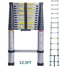 12.5FT Aluminium Ladders Telescoping Multi-Purpose Extension Folding Step Ladder