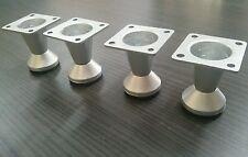 4 x CROMO OPACO PVC PIEDINI PER MOBILI/ZAMPE 50mm ALTO DIVANO,LETTI,SEDIE,