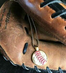 Baseball Seams Round Pendant Necklaces - Made from Actual Used Baseballs