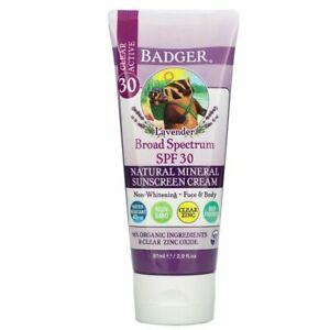 Natural Mineral Sunscreen Cream SPF 30 Lavender Clear Actice 2.9 oz By Badger