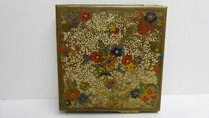 VINTAGE FLORAL DOUBLE SIDED FLORAL ZENETTO MAKE UP COMPACT RETRO MID CENTURY