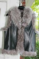 Leather Vest Jacket XS S Silver Indigo Real Fox Collar Trim Fur Coat Pre-owned