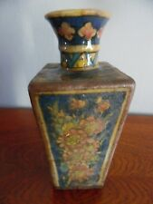 Ancien Vase Terre Cuite XIX - XVIII Décor De Fleurs Céramique émaillée 19/18ème