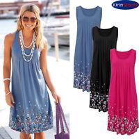 Fashion Summer Dress Casual Sleeveless Evening Party Beach Floral print Short