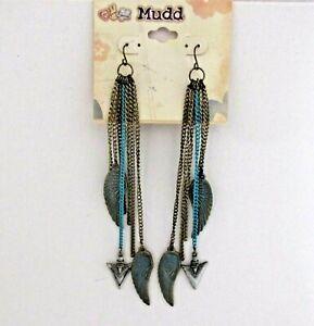 """Mudd Shoulder Duster Dangle Pierce Earrings Angel Wing Arrowhead Chains 5.5"""""""