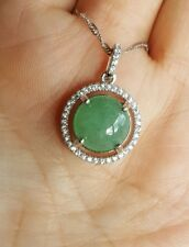 Genuine Light Green Icy 5ct Jadeite Jade(Type A) 925 Silver Pendant with Chain