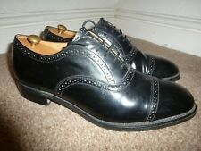 MENS UK 7.5 LOAKE BLACK LEATHER CAP TOE SMART OXFORD BROGUES FORMAL SUIT SHOES