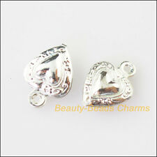 12Pcs Silver Plated Copper Tiny Heart Charms Pendants 8.5x12mm