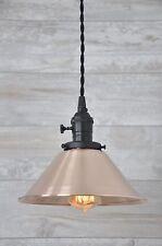 Brushed Copper Spun Cone Black Industrial Pendant Light Fixture Rustic Vintage