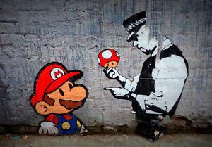 BANKSY FRAMED CANVAS STREET GRAFFITI PAINTING  PRINT POLICE MARIO BROS TICKET