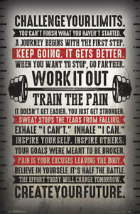 Fitness Inspirational CHALLENGE YOUR LIMITS TRAIN THE PAIN Motivational POSTER