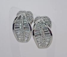 Spectacular Ladies Platinum Round Baguette Diamond French Clip Earrings 2.74CTW