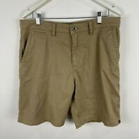 Quiksilver Mens Shorts 34 Kahki Brown Chino Pockets