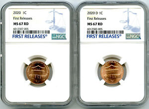 2020 P & D CENT NGC MS67 SHIELD MATCHING 2 COIN LINCOLN LABEL SET FIRST RELEASES