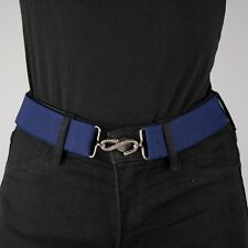 Navy Blue Elastic Belt Womens Plain Elasticated Hook Snake Belt Unisex UK