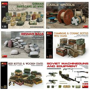 Miniart 1/35 Scale Diorama Accessories WW2 Kits Bottles Creates Bags Jerry Cans