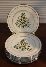 Noritake White Scapes Stoneleigh Christmas 8 accent salad plates Sri Lanka
