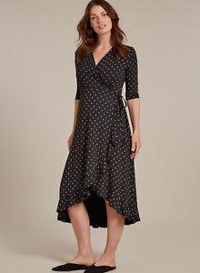 Isabella Oliver Maternity Danni Wrap Dress Size 4 US10 Black Polka Dot High Low
