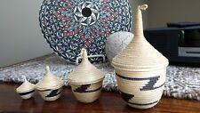 African Rwanda Tutsi Set of 4 Nesting Woven Baskets